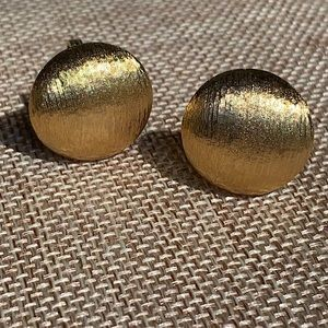 Vintage Monet Brushed Gold Button Earrings
